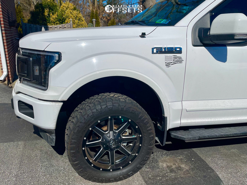 "2018 Ford F-150 Aggressive > 1"" outside fender on 20x9 -6 offset Fuel Maverick and 33""x12.5"" Nitto Ridge Grappler on Stock - Custom Offsets Gallery"