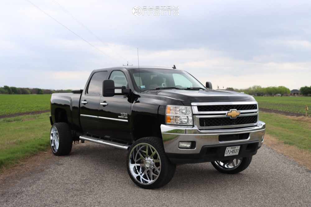 "2013 Chevrolet Silverado 2500 HD Aggressive > 1"" outside fender on 24x12 -44 offset Axe Offroad Nemesis and 35""x12.5"" Atturo Trail Blade ATS on Suspension Lift 3.5"" - Custom Offsets Gallery"