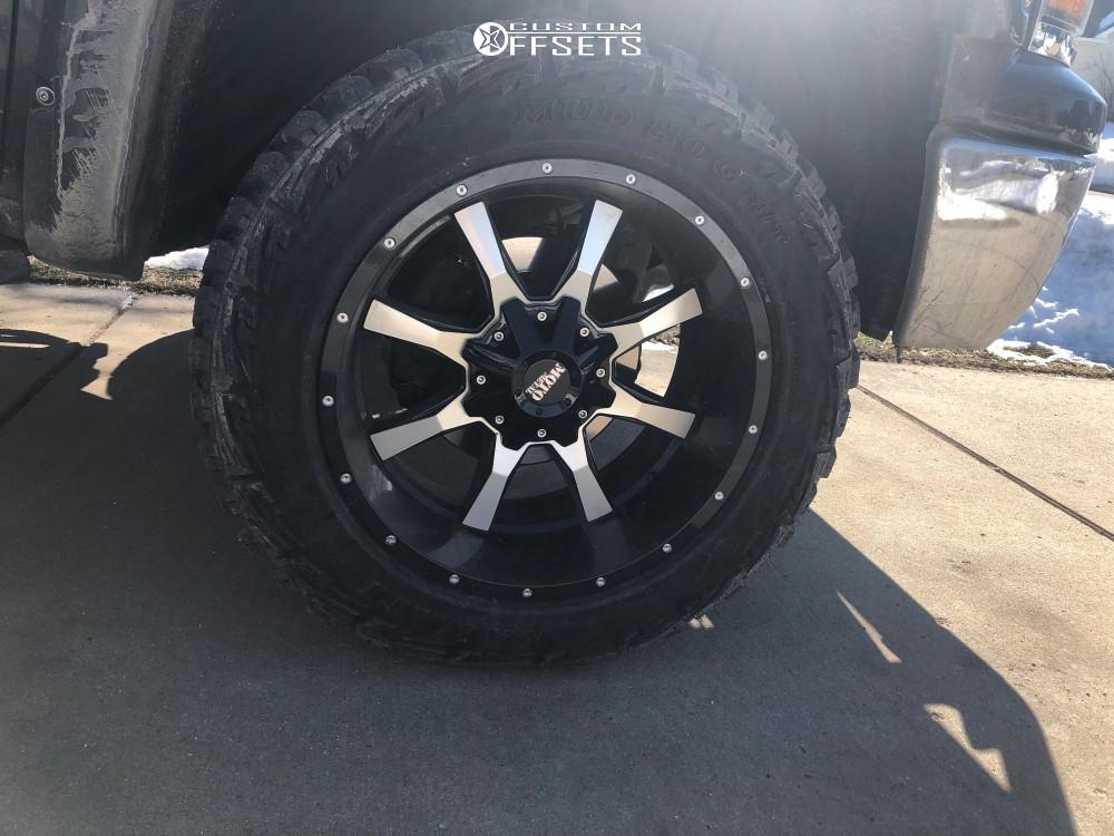 "2015 Chevrolet Silverado 1500 Slightly Aggressive on 20x10 -24 offset Moto Metal Mo970 and 275/60 Kanati Mud Hog on Suspension Lift 3"" - Custom Offsets Gallery"