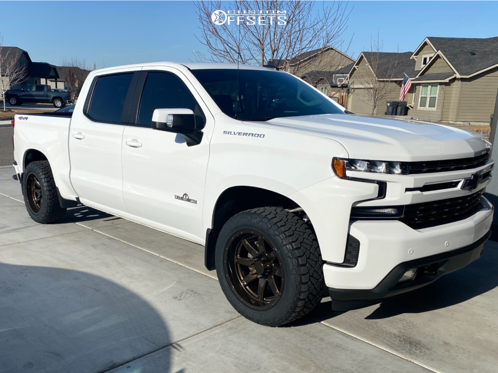 2019 Chevrolet Silverado 1500 Slightly Aggressive on 20x10 -19 offset Hostile Alpha and 275/55 Nitto Ridge Grappler on Stock Suspension - Custom Offsets Gallery