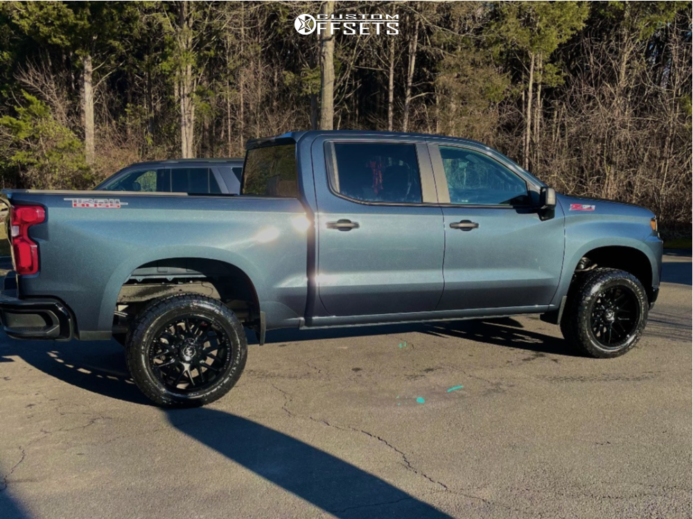 """2021 Chevrolet Silverado 1500 Aggressive > 1"""" outside fender on 20x10 -25 offset Motiv Offroad Magnus and 33""""x12.5"""" Radar Renegade A/t 5 on Stock Suspension - Custom Offsets Gallery"""