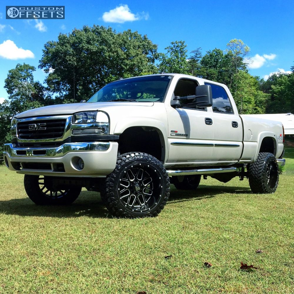 1 2005 sierra 2500 hd gmc suspension lift 6 xd xd820 machined accents aggressive 1 outside