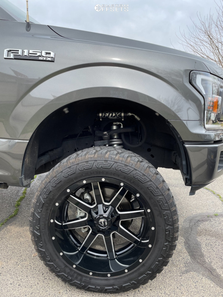 """2018 Ford F-150 Aggressive > 1"""" outside fender on 22x10 -24 offset Fuel Maverick and 35""""x12.5"""" Fury Offroad Country Hunter Rt on Suspension Lift 6"""" - Custom Offsets Gallery"""