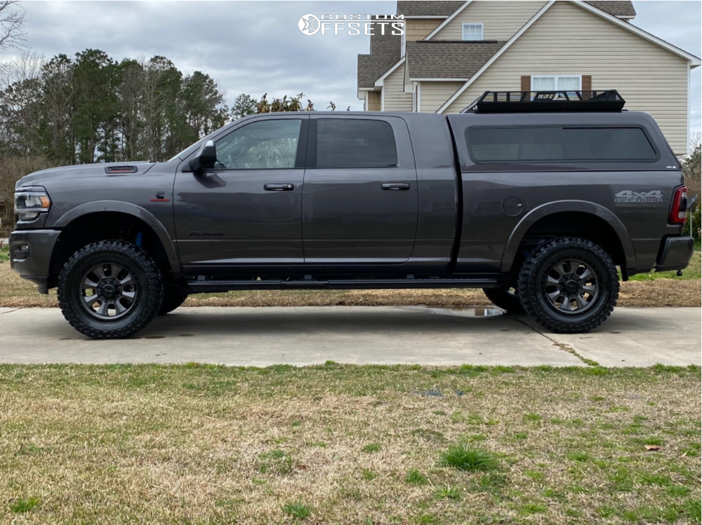 "2020 Ram 2500 Aggressive > 1"" outside fender on 20x9 0 offset Dirty Life Ironman and 35""x12.5"" Cooper Discoverer Stt Pro on Leveling Kit - Custom Offsets Gallery"
