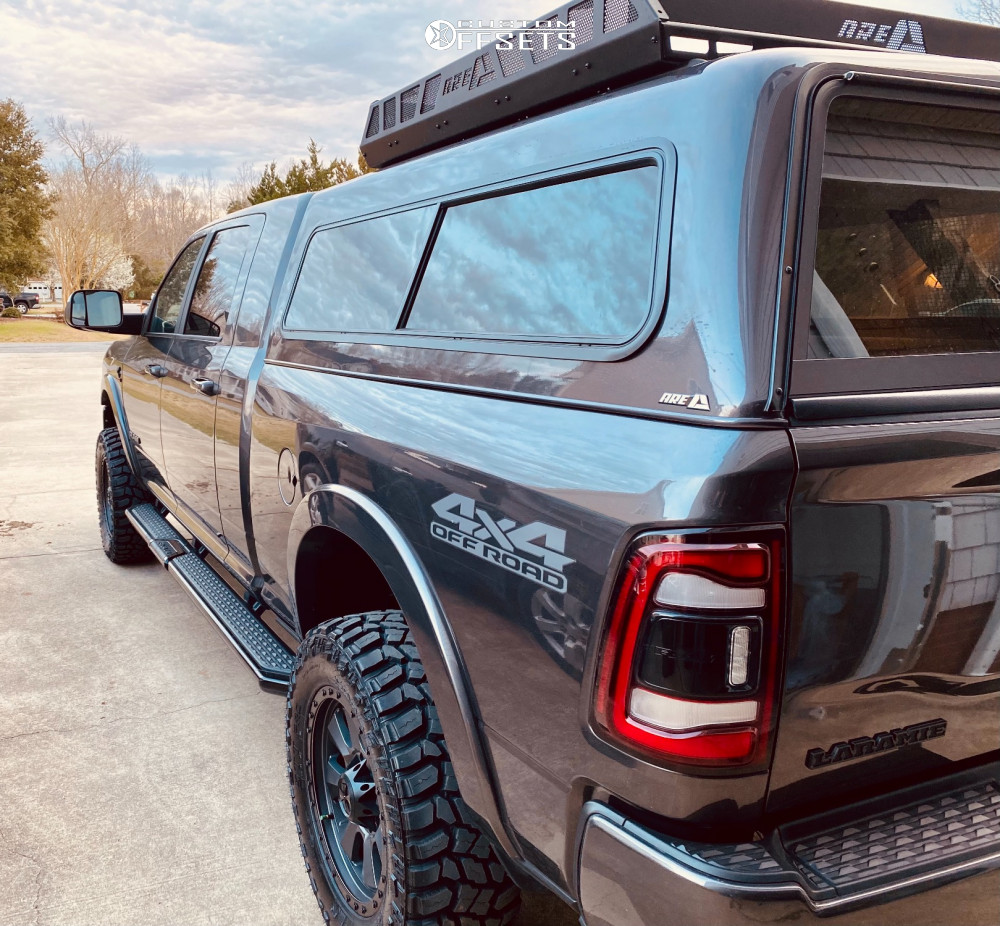 """2020 Ram 2500 Aggressive > 1"""" outside fender on 20x9 0 offset Dirty Life Ironman and 35""""x12.5"""" Cooper Discoverer Stt Pro on Leveling Kit - Custom Offsets Gallery"""