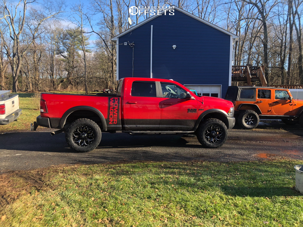 "2017 Ram Ram 2500 Aggressive > 1"" outside fender on 20x9 20 offset Fuel Assault and 37""x12.5"" Milestar Patagonia Mt on Stock Suspension - Custom Offsets Gallery"