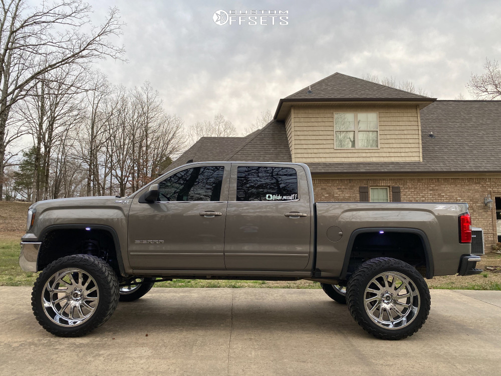 """2017 GMC Sierra 1500 Super Aggressive 3""""-5"""" on 24x12 -44 offset Hardcore Offroad Hc15 and 37""""x13.5"""" AMP Mud Terrain Attack M/t A on Suspension Lift 9"""" - Custom Offsets Gallery"""