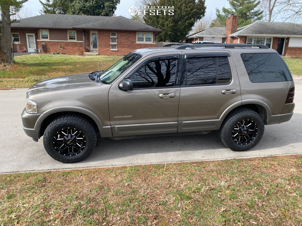"2002 Ford Explorer Slightly Aggressive on 17x9 18 offset Ion Alloy 141 and 31""x10.5"" Falken Wild Peak At3w on Stock Suspension - Custom Offsets Gallery"