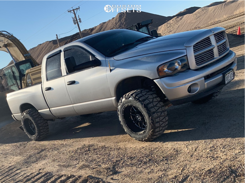 "2004 Dodge Ram 2500 Super Aggressive 3""-5"" on 20x12 -44 offset Hostile Sprocket and 35""x12.5"" Nitto Mud Grappler on Leveling Kit - Custom Offsets Gallery"