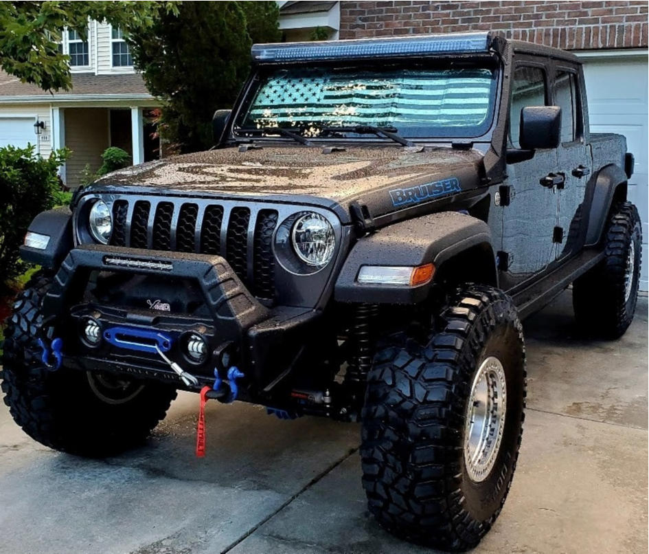"""2020 Jeep Gladiator Aggressive > 1"""" outside fender on 17x9 -38 offset KMC Km229 Machete Crawl and 40""""x13.5"""" Cooper Discoverer Stt Pro on Suspension Lift 3.5"""" - Custom Offsets Gallery"""