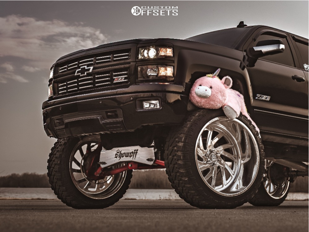 """2015 Chevrolet Silverado 1500 Hella Stance >5"""" on 26x16 -103 offset Specialty Forged SF 41 and 40""""x15.5"""" Fury Offroad Country Hunter Mt on Suspension Lift 12"""" - Custom Offsets Gallery"""