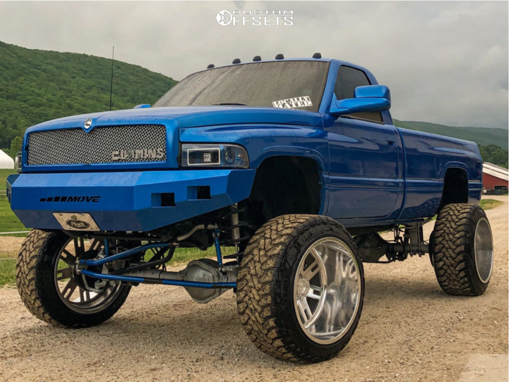 """1998 Dodge Ram 2500 Hella Stance >5"""" on 24x16 -101 offset Fuel Forged Ff33 and 37""""x13.5"""" Toyo Tires Open Country Mt on Suspension Lift 8"""" - Custom Offsets Gallery"""