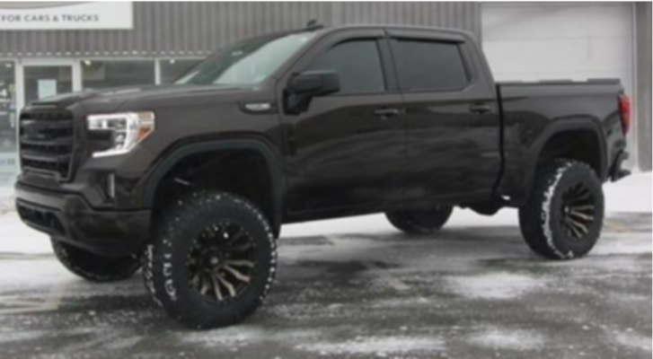 "2020 GMC Sierra 1500 Aggressive > 1"" outside fender on 20x12 -44 offset Fuel Blitz and 37""x12.5"" Nitto Ridge Grappler on Suspension Lift 8"" - Custom Offsets Gallery"