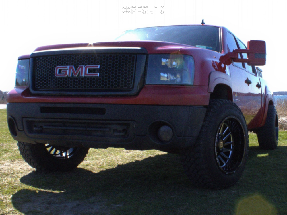 """2008 GMC Sierra 1500 Aggressive > 1"""" outside fender on 20x12 -44 offset K2 Offroad Razorback and 265/70 Treadwright The Claw on Leveling Kit - Custom Offsets Gallery"""