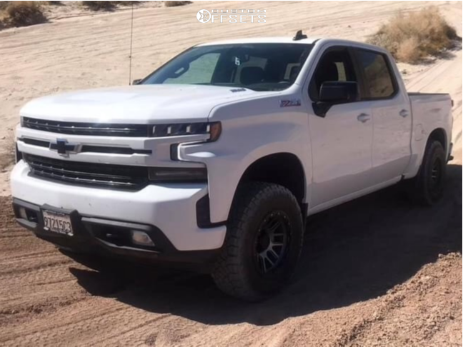 """2021 Chevrolet Silverado 1500 Aggressive > 1"""" outside fender on 17x9 -14 offset Vision Nemesis and 285/65 Nitto Trail Grappler on Leveling Kit - Custom Offsets Gallery"""