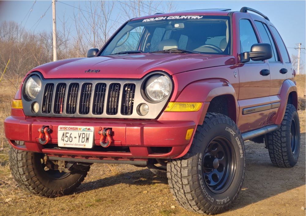 "2006 Jeep Liberty Aggressive > 1"" outside fender on 16x8 -6 offset Black Rock Type 8 and 275/65 Dick Cepek Trail Country on Suspension Lift 3"" - Custom Offsets Gallery"