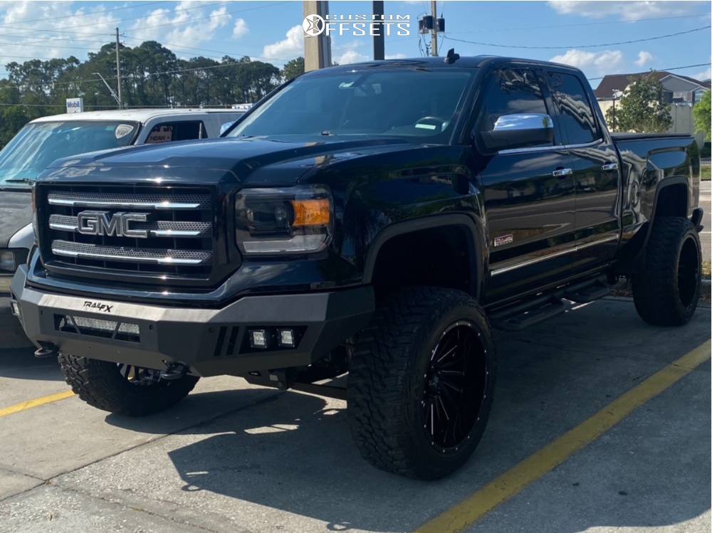 """2014 GMC Sierra 1500 Super Aggressive 3""""-5"""" on 22x12 -44 offset Force Offroad F38 and 35""""x12.5"""" Kanati Mud Hog on Suspension Lift 7"""" - Custom Offsets Gallery"""
