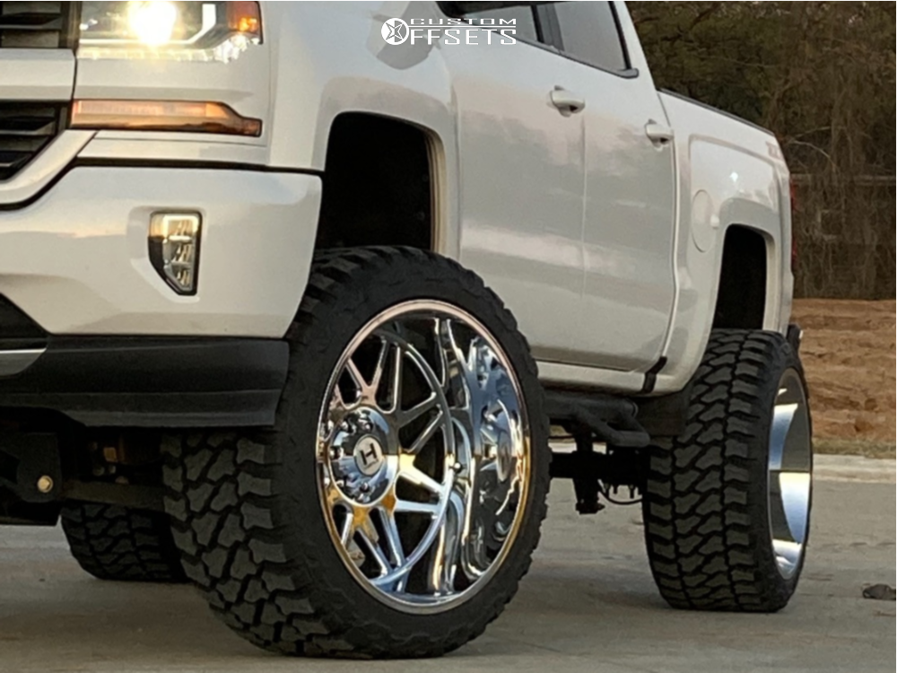 """2016 Chevrolet 1500 Super Aggressive 3""""-5"""" on 24x14 -76 offset Hostile Sprocket and 35""""x15.5"""" Fury Offroad Country Hunter Mt on Suspension Lift 7.5"""" - Custom Offsets Gallery"""