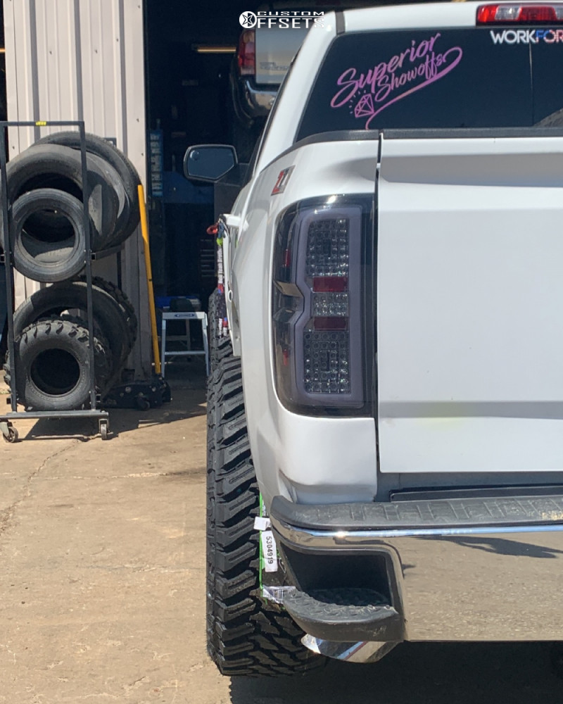 "2015 Chevrolet Silverado 1500 Aggressive > 1"" outside fender on 22x12 -50 offset Ballistic Rage and 33""x12.5"" Atturo Trail Blade Mt on Stock Suspension - Custom Offsets Gallery"