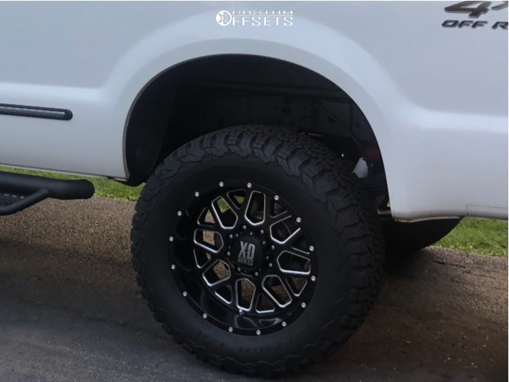 """1999 Ford F-350 Super Duty Slightly Aggressive on 20x10 0 offset XD Grenade and 35""""x12.5"""" BFGoodrich All Terrain T/a Ko2 on Suspension Lift 4"""" - Custom Offsets Gallery"""