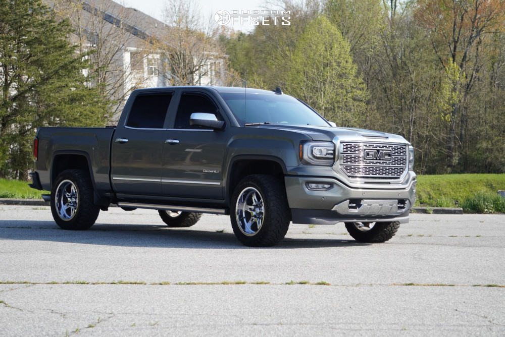 "2017 GMC Sierra 1500 Aggressive > 1"" outside fender on 20x10 -25 offset Weld Racing Cheyenne and 33""x12.5"" Centennial Dirt Commander M/t on Leveling Kit - Custom Offsets Gallery"