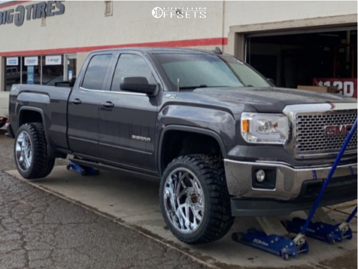 """2015 GMC Sierra 1500 Aggressive > 1"""" outside fender on 22x12 -44 offset Hardcore Offroad Hc12 and 33""""x12.5"""" Road One Cavalry M/t on Leveling Kit - Custom Offsets Gallery"""