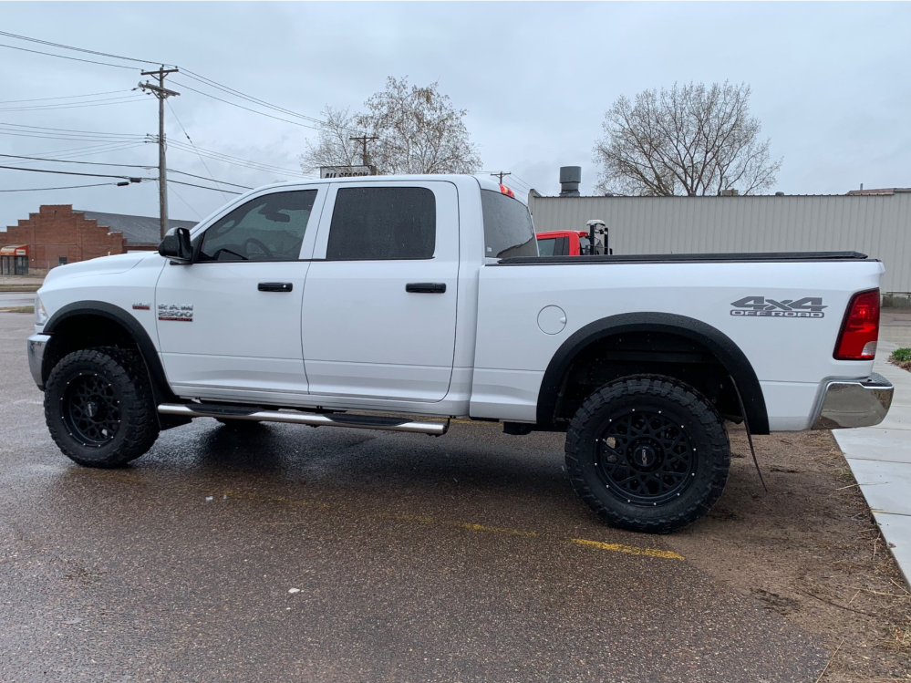 """2018 Ram 2500 Slightly Aggressive on 20x9 12 offset Vision Rocker and 35""""x12.5"""" Toyo Open Country Mt on Leveling Kit - Custom Offsets Gallery"""