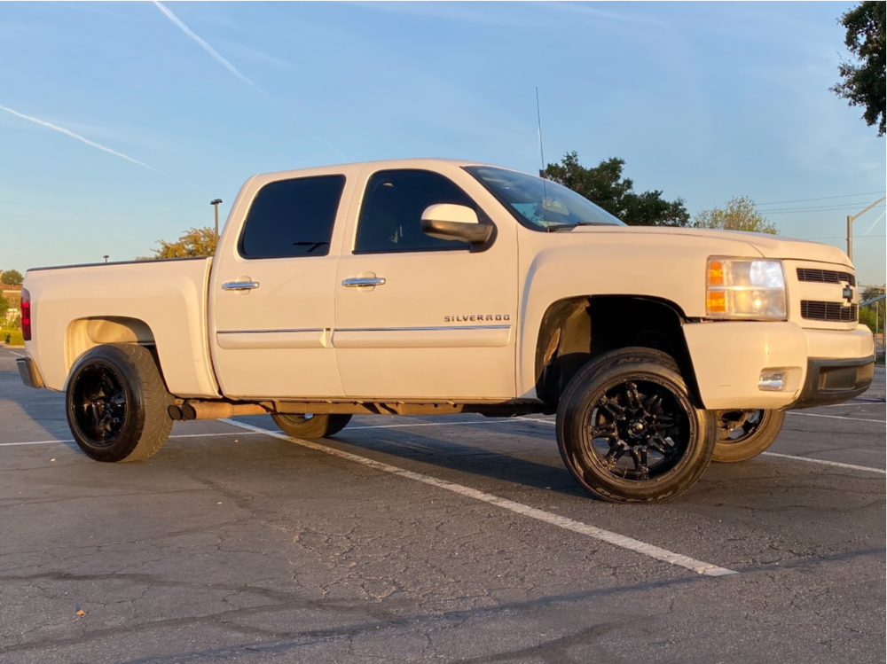 """2010 Chevrolet Silverado 1500 Aggressive > 1"""" outside fender on 20x12 -44 offset Fuel Hostage and 31""""x10.5"""" Nitto Nt420s on Suspension Lift 2.5"""" - Custom Offsets Gallery"""