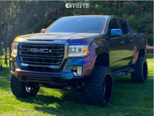 "2021 GMC Canyon Super Aggressive 3""-5"" on 22x12 -49 offset Rbp Forged Scorpion and 33""x12.5"" Lancaster LS-67 M/T on Suspension Lift 5.5"" - Custom Offsets Gallery"
