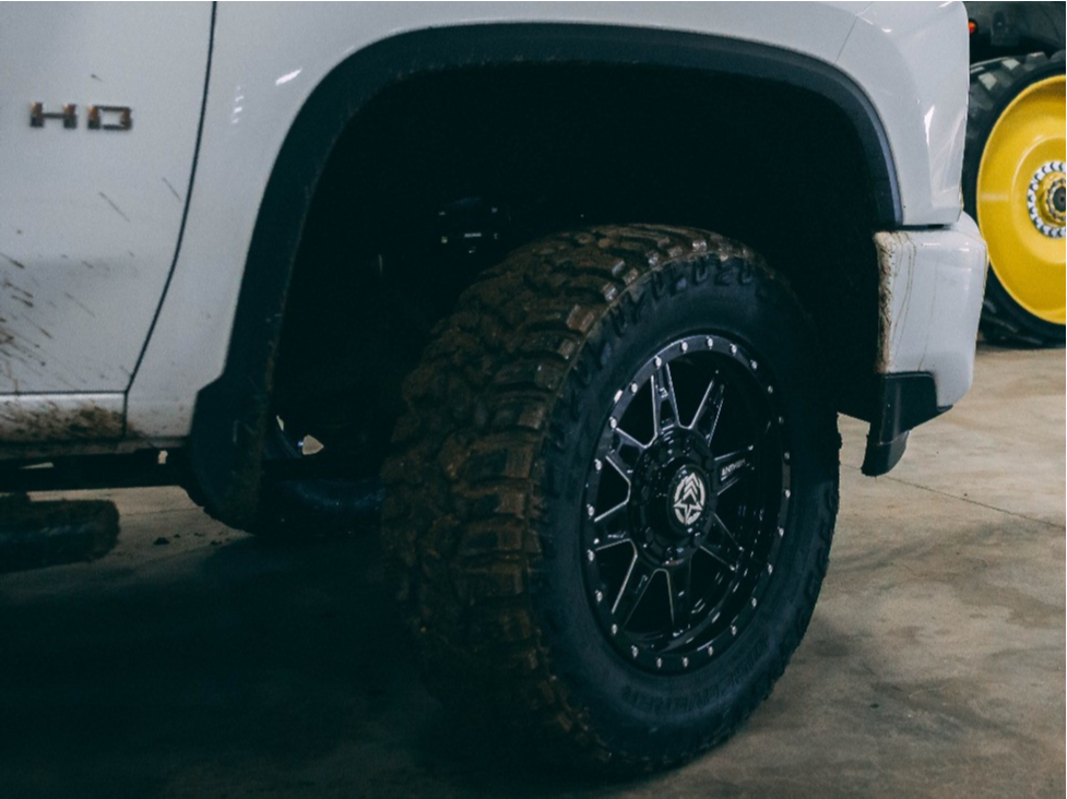 """2021 Chevrolet Silverado 3500 HD Slightly Aggressive on 20x9 0 offset Anthem Off-Road Rogue and 35""""x12.5"""" Cooper Discoverer STT Pro on Leveling Kit - Custom Offsets Gallery"""