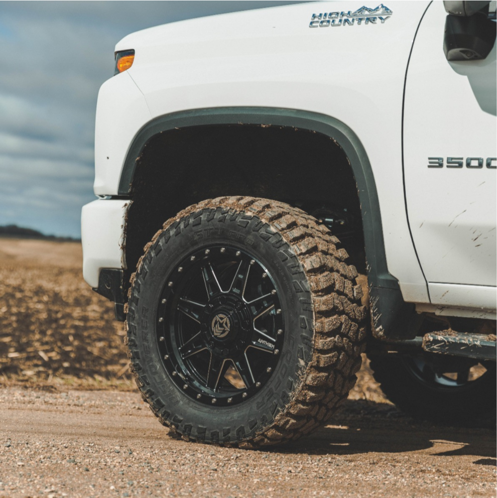 "2021 Chevrolet Silverado 3500 HD Slightly Aggressive on 20x9 0 offset Anthem Off-Road Rogue and 35""x12.5"" Cooper Discoverer STT Pro on Leveling Kit - Custom Offsets Gallery"