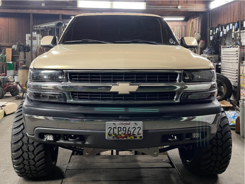 """2001 Chevrolet Silverado 1500 Super Aggressive 3""""-5"""" on 24x14 -81 offset ARKON OFF-ROAD Cleopatra and 35""""x13.5"""" AMP Mud Terrain Attack Mt A on Suspension Lift 8"""" - Custom Offsets Gallery"""