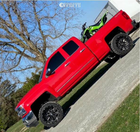 """2016 Chevrolet Silverado 1500 Super Aggressive 3""""-5"""" on 22x14 -76 offset Hostile Sprocket H108 and 33""""x14.5"""" AMP Mud Terrain Attack M/t A on Suspension Lift 7"""" - Custom Offsets Gallery"""