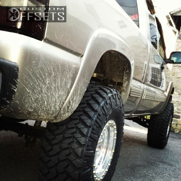 1 2000 Silverado 1500 Chevrolet Suspension Lift 6 Mickey Thompson Classic Lock 16x10 Polished Aggressive 1 Outside Fender