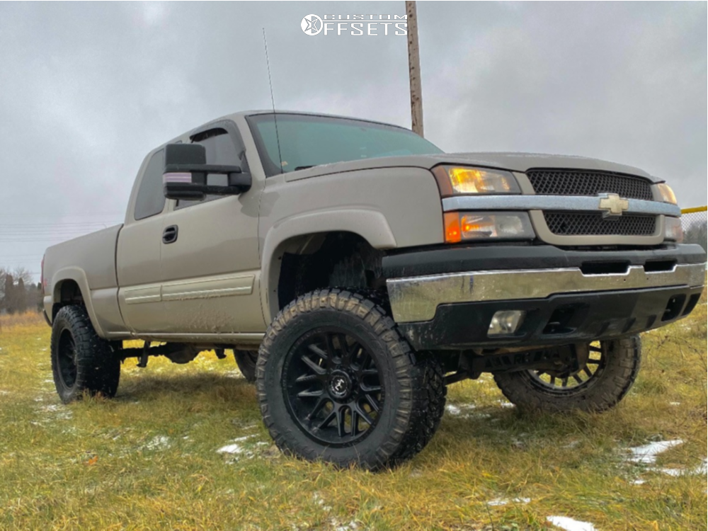 "2005 Chevrolet Silverado 1500 Aggressive > 1"" outside fender on 20x10 -25 offset Motiv Offroad Magnus 423b and 325/60 Nitto Ridge Grappler on Suspension Lift 6"" - Custom Offsets Gallery"