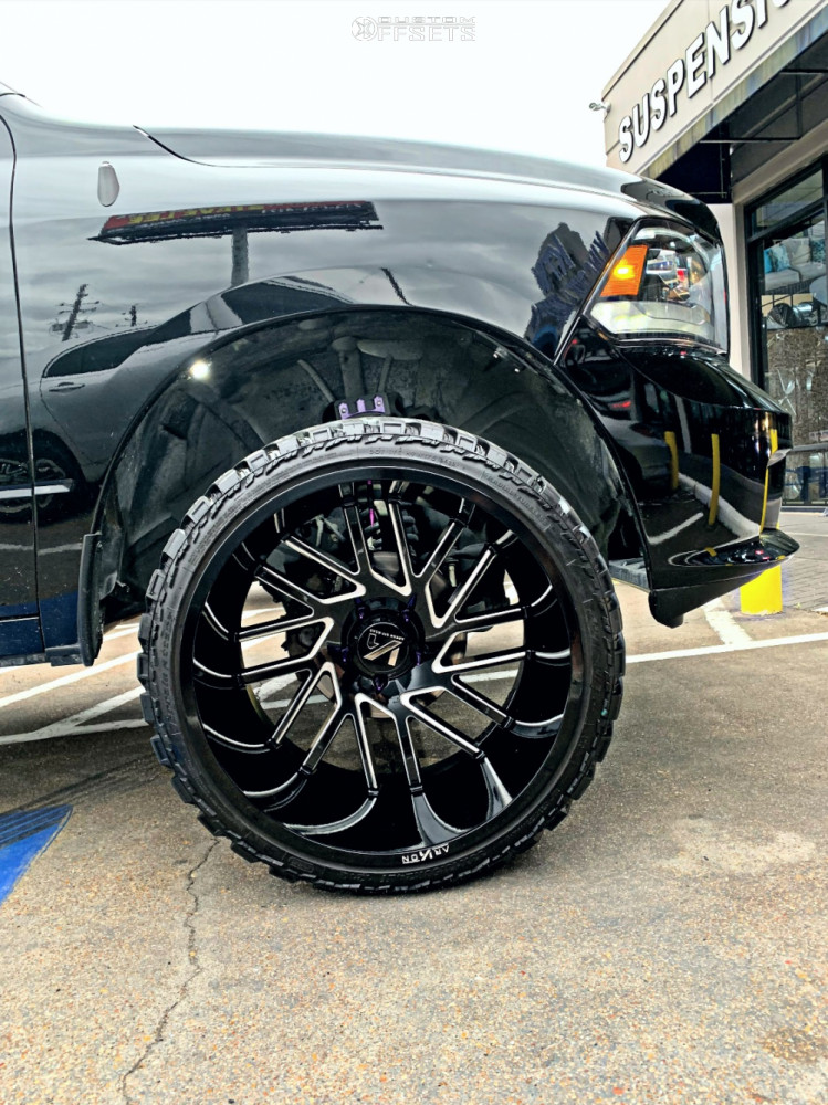 """2014 Ram 1500 Super Aggressive 3""""-5"""" on 24x14 -81 offset ARKON OFF-ROAD Mandela and 33""""x13.5"""" AMP Mud Terrain Attack M/t A on Suspension Lift 3"""" - Custom Offsets Gallery"""