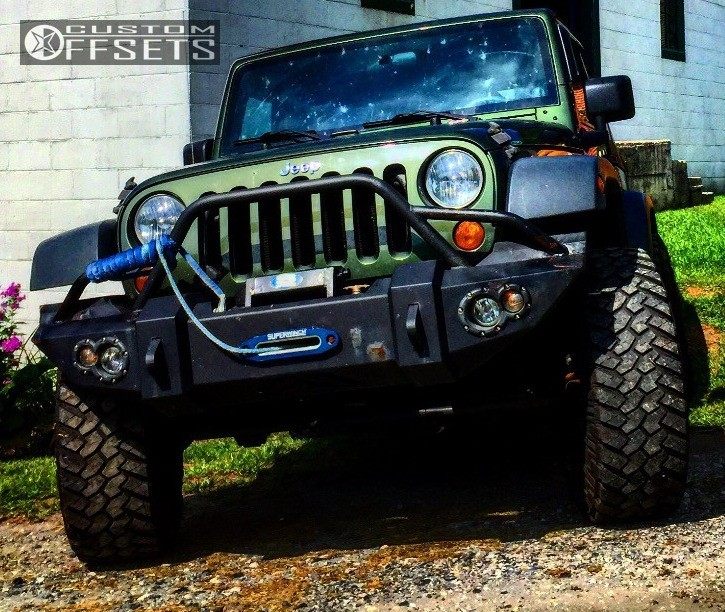 "2007 Jeep Wrangler Super Aggressive 3""-5"" on 17x8 -12 offset Pro Comp Series 89 and 315/70 Mickey Thompson Baja Mtz on Suspension Lift 3.5"" - Custom Offsets Gallery"