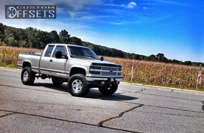 1 1998 C K 1500 Series Chevrolet Suspension Lift 6 American Racing Slider Chrome Slightly Aggressive