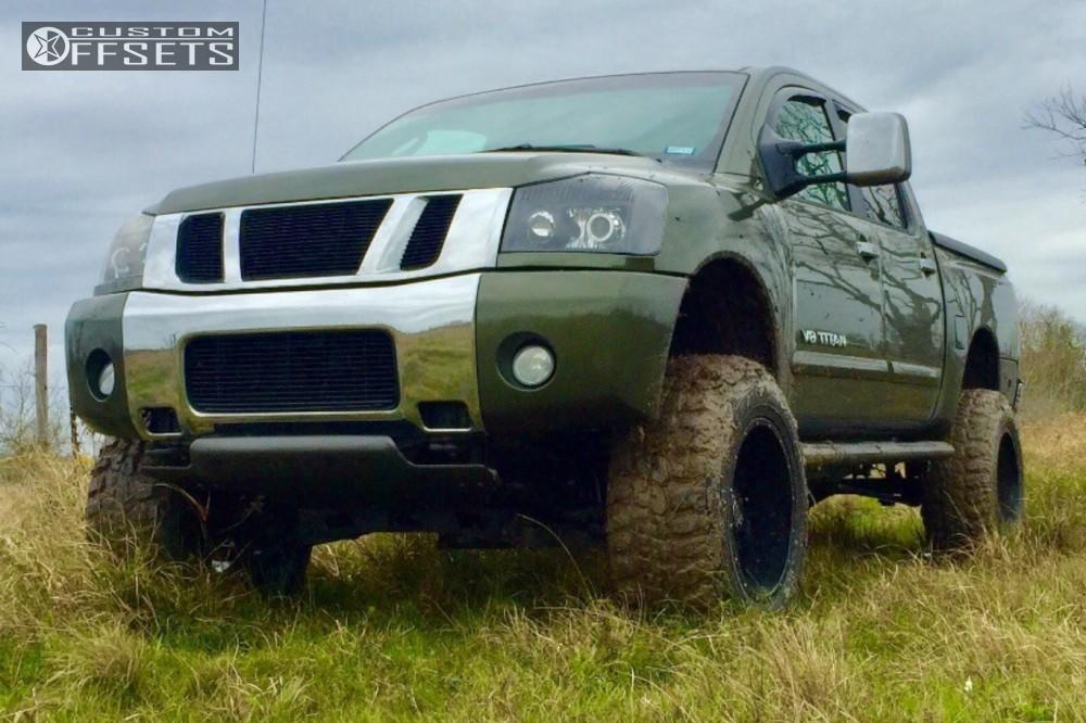 4 2005 Titan Nissan Suspension Lift 6 Body 3 Off Road Monster M08 Black Super Aggressive