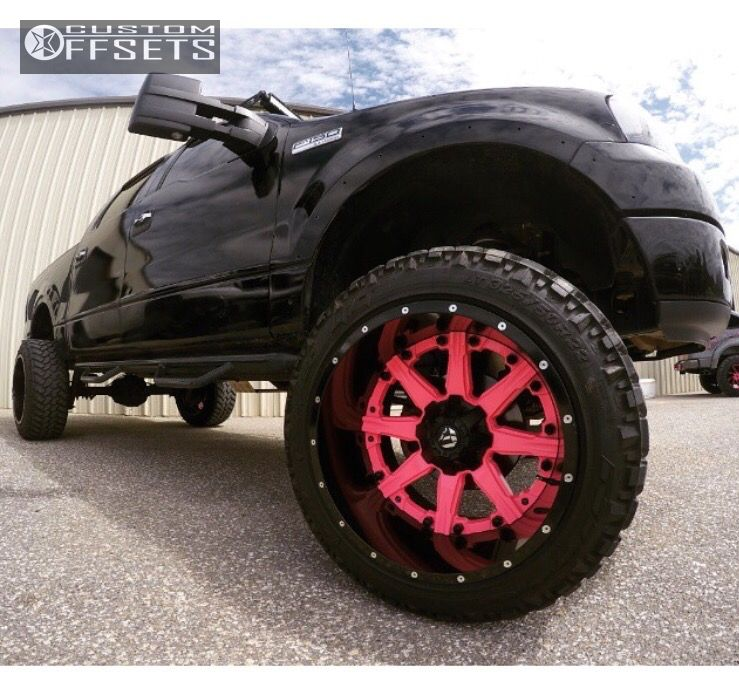 """2004 Ford F-150 Hella Stance >5"""" on 22x14 -70 offset Fuel Nuts and 325/50 Nitto Trail Grappler on Suspension Lift 9"""" - Custom Offsets Gallery"""