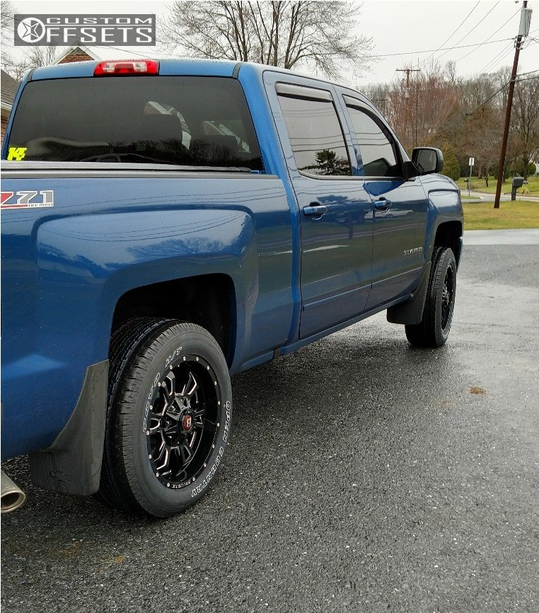 2017 Chevrolet Silverado 1500 Slightly Aggressive on 20x9 -12 offset Ballistic Mace and 275/55 Toyo Tires Open Country H/t on Leveling Kit - Custom Offsets Gallery