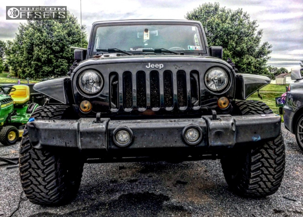"""2007 Jeep Wrangler Aggressive > 1"""" outside fender on 20x12 -44 offset Ballistic Rage and 35""""x12.5"""" Atturo Trail Blade Mt on Suspension Lift 3.5"""" - Custom Offsets Gallery"""