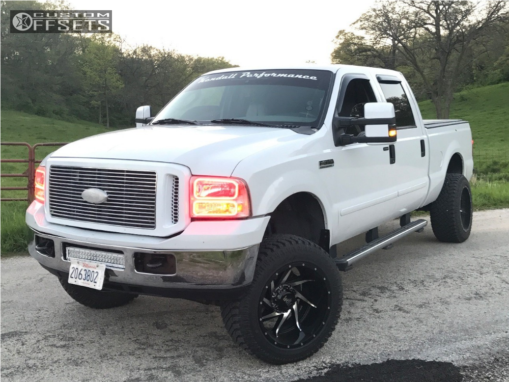 1 2007 F 350 Super Duty Ford Leveling Kit Red Dirt Road Vortex Machined Black Aggressive 1 Outside Fender