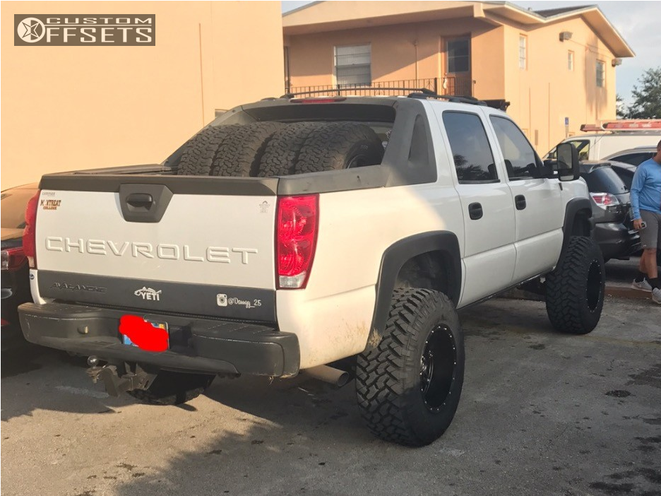 "2006 Chevrolet Avalanche Super Aggressive 3""-5"" on 18x12 -44 offset Fuel Hostage and 35""x12.5"" Nitto Trail Grappler on Suspension Lift 6"" - Custom Offsets Gallery"