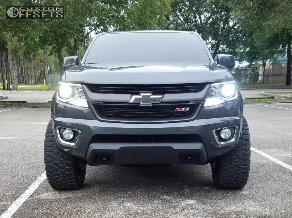 2 2016 Colorado Chevrolet Leveling Kit Body Lift Havok H109 Machined Black Super Aggressive 3 5