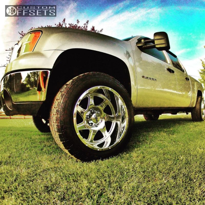 1 2011 Sierra 1500 Gmc Leveling Kit Moto Metal Mo976 Chrome Aggressive 1 Outside Fender
