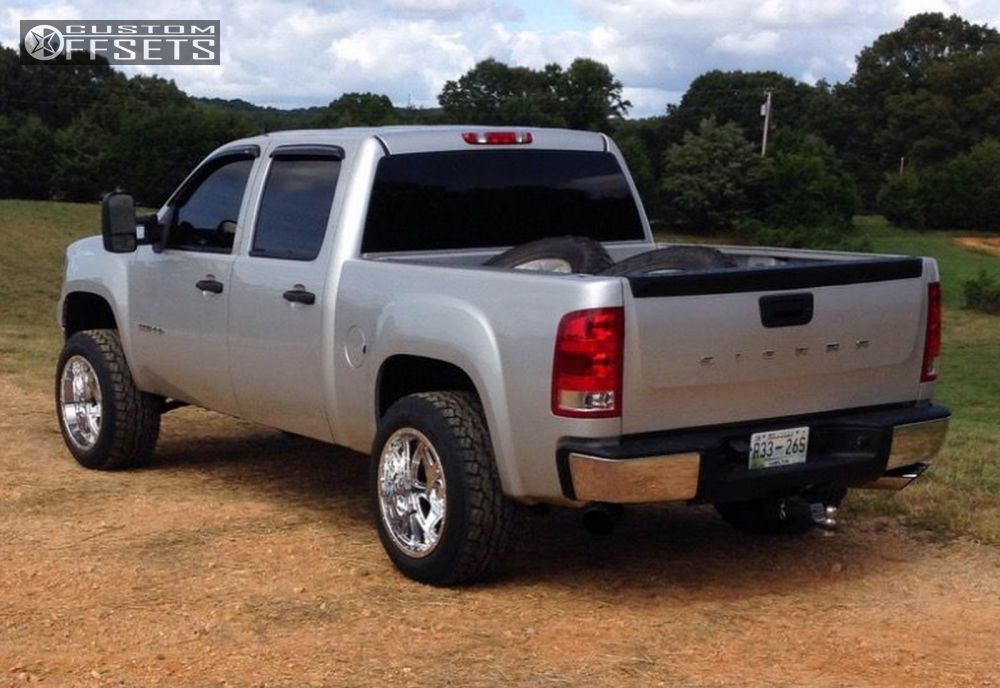 4 2011 Sierra 1500 Gmc Leveling Kit Moto Metal Mo976 Chrome Aggressive 1 Outside Fender