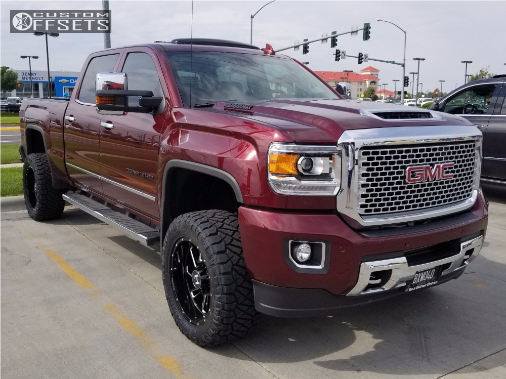 wheel offset 2017 gmc sierra 2500 hd slightly aggressive leveling kit. Black Bedroom Furniture Sets. Home Design Ideas