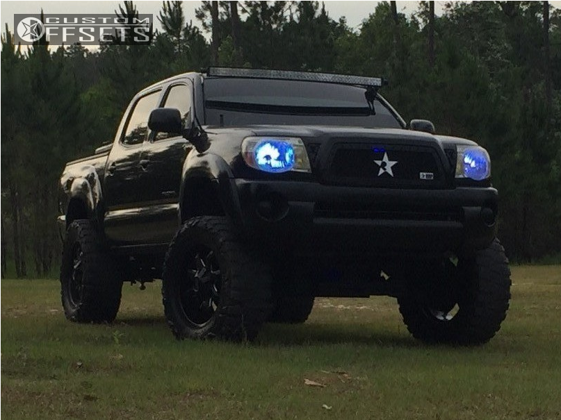 1 2005 Tacoma Toyota Pro Comp Suspension Lift 6in Alloy Ion Style 181 Machined Black