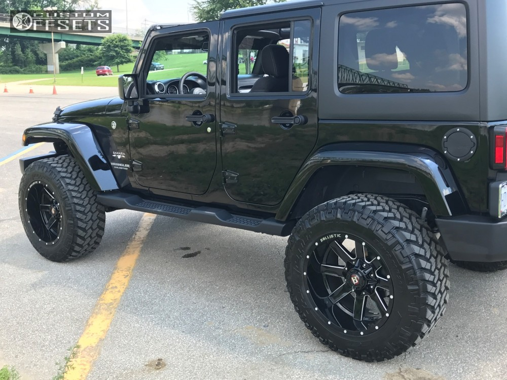 4 2017 Wrangler Jeep Rough Country Suspension Lift 35in Ballistic Rage Black